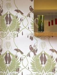 Small Picture Finches Wallpaper Wallpaper with aubergine birds on branches with