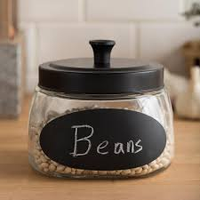 ksp chalkboard glass canister with lid black clear kitchen stuff plus