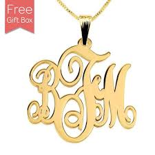 custom gold plated monogram necklace