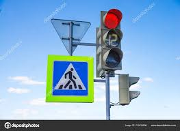 What Is Blue Light On Traffic Signal Red Light Traffic Light Signal With Road Signs Stock Photo