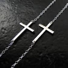 kelly ripa sideways cross necklace hammered or smooth sterling theresa mink designs ruby lane