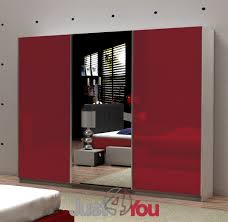 Bedroom Furniture FOX With Fronts In High Gloss And With Mirror - Red gloss bedroom furniture