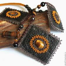 necklace necklace leather beaded necklace necklace with natural stones necklace with tiger
