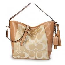 Coach Legacy In Signature Medium Khaki Shoulder Bags ANS