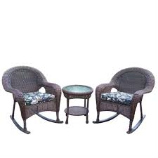 oakland living resin 3 piece wicker patio rocker set with black fl cushions