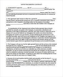 sample contract agreement sample recording agreement rome fontanacountryinn com