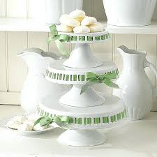 milk glass cake stand ribbon tall white
