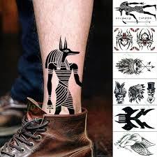 Vodotěsný Dočasné Tetování Nálepka Egypt Anubis Smrti Nebezpečného