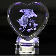 personalized crystal faceted heart award 3d laser valentine s day crystal rose gift souvenirs with rechargeable led light stand in statues sculptures from