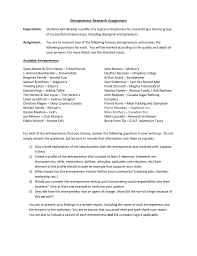 Entrepreneur Research Assignment