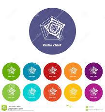 Radar Chart Icons Set Vector Color Stock Vector