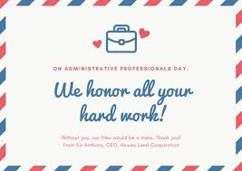 Administative Day Red And Blue Mail Theme Administrative Professionals Day Card