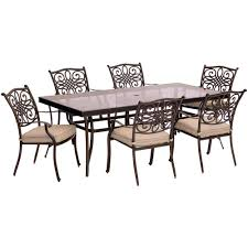 hanover traditions 7 piece aluminum outdoor dining set with rectangular glass top table with