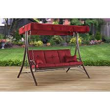canopy porch swing bed mainstays callimont park 3 seat red patio furniture