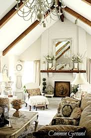 Matching mantle and beams.The neutrals work so well with alll those  beatiful elements and styling - Common Ground