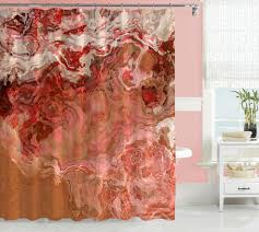Abstract Art Shower Curtain Peach Coral Dark Red Brown Beige