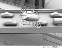 渋滞している車列の上空を飛行する自動運転ドローンタクシーのグレイ