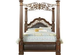 Handly Manor Pecan 5 Pc Queen Canopy Bed - Queen Beds Dark Wood