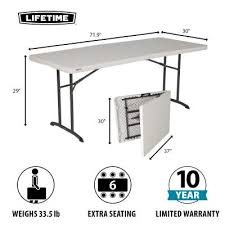 lifetime 6 foot fold in half table