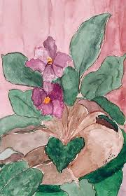 African Violet Painting by Margie Byrne