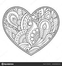 Mehndi Květinový Vzor Formě Srdce Lotus Pro Kreslení Hennou Tetování