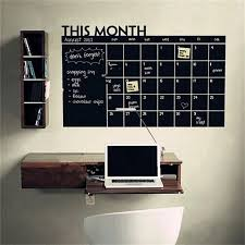D 9260cm Month Calendar Chalkboard Blackboard Removable Planner Wall  Stickers Black Board Office School Vinyl