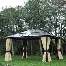 outdoor patio tents. Outsunny 14x12ft Hardtop Outdoor Patio Gazebo Aluminum Pole W/Mosquito Netting Tents