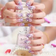 24Pcs Decorated Fake Nails Cute Bride Wedding Nail Art Display ...