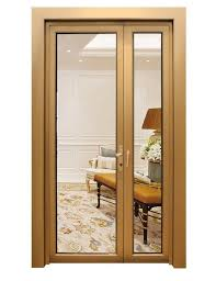 china outside glass aluminum door with golden color double temper glass china aluminum