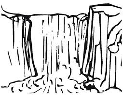 Waterfall 4 Nature Printable Coloring Pages