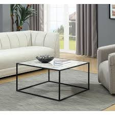 convenience concepts gold coast faux marble coffee table with black base hover to zoom