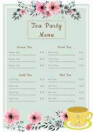 Free Tea Party Menu In 2019 Tea Party Menu Afternoon Tea
