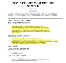 Sample Combination Resume For Stay At Home Mom Resume For Study