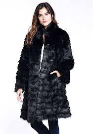 black horizontal knee length faux fur coat 1