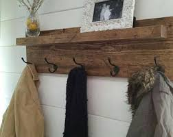 Distressed Wood Coat Rack With Shelf Distressed coat rack Etsy 2