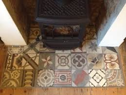 patterned tiled hearth possibly