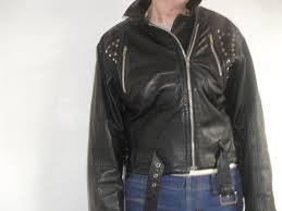 genuine black leather vintage biker jacket size 12 zipped pockets studs zips