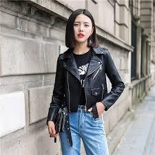ftlzz pu leather jacket women fashion bright colors black motorcycle coat short faux leather biker jacket soft jacket female women clothing