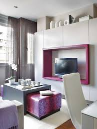 Small Studio Apartment Decorating Idea With Purple Lovely TV - Decorating ideas for very small apartments