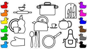 Small Picture Learn Colors for Kids with Kitchen Tools Coloring Pages Fun