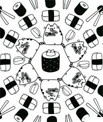 Pusheen Cat Coloring Pages Food Sushi Get Coloring Page