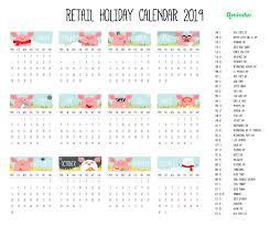 2019 Retail Holiday Calendar Qminder