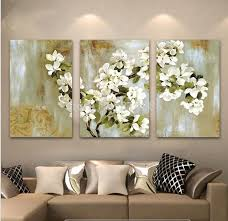 2018 hand painted abstract white fl picture wall flower oil painting 3 panel canvas wall art modern home decoration sets from oilpaintingdecor