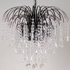 chandelier 20inch 50cm 4 light glass crystal diamond drop waterfall black nickel