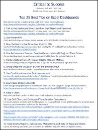 Download The Top 25 Dashboard Design Tips Sheet Critical