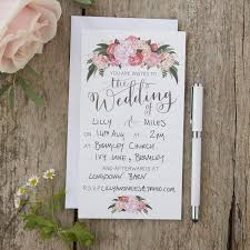 hand illustrated floral wedding invitations boho ginger ray