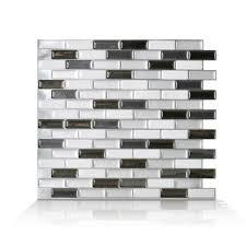 mosaic wall tile murano metallik grey l stick self adhesive decorative new