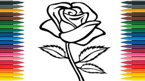 Small Picture How to Draw Rose for Kids Draw Rose Flower Learn Colors With