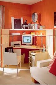 orange office furniture. orange paint for small home office design with light wood furniture and white chair