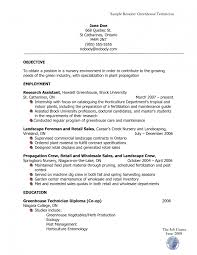 Horticulture Resume For Study Technician And Gardening Example Interview  Tips D